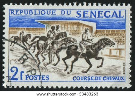 SENEGAL - CIRCA 1961: stamp printed by Senegal, shows race, circa 1961. - stock photo
