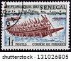 SENEGAL - CIRCA 1961: stamp printed in Senegal shows Pirogues racing, circa 1961 - stock photo