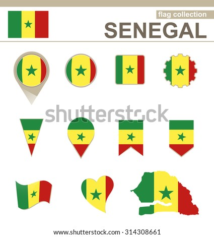 Senegal Flag Collection, 12 versions, Rasterized Copy