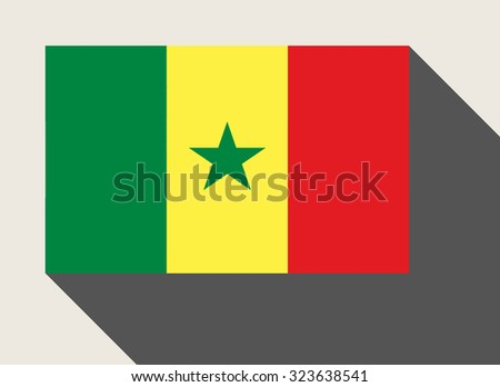 Senegal flag in flat web design style. - stock photo