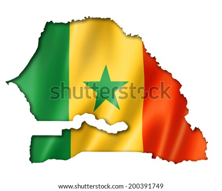 Senegal flag map, three dimensional render, isolated on white - stock photo