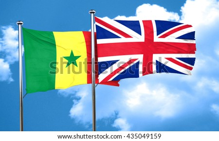 Senegal flag with Great Britain flag, 3D rendering