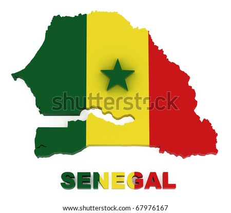 Senegal, map with flag, isolated on white with clipping path, 3d illustration - stock photo