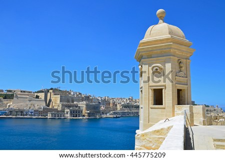SENGLEA, MALTA - JUNE 13 2016: Vedette,watchtower is located at the tip of Senglea Point and is decorated with carvings of eye and ear.