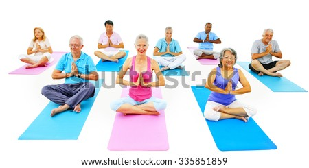 Senior Adult Relaxation Activity Meditation Yoga Concept - stock photo