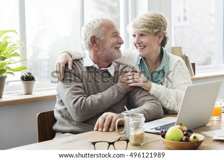Senior Adult Using Laptop Notebook Concept