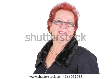 Senior adult woman smiling at you naturally - stock photo