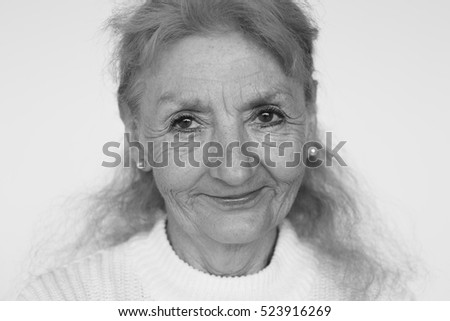 Senior Adult Woman Smiling Happiness Portrait Concept