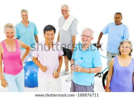 Senior Adults Exercising - stock photo