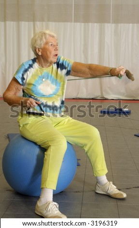 Senior Aerobic Workout - stock photo