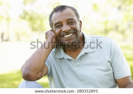 Senior African American Man In Park - stock photo