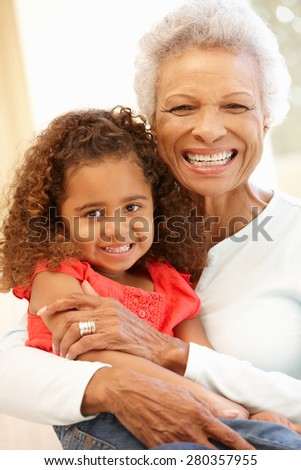 Senior African American woman and granddaughter - stock photo