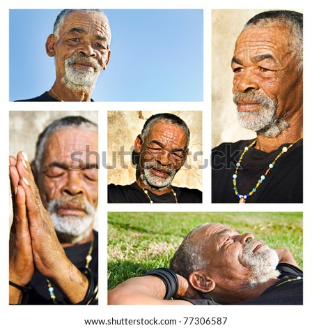 Senior African man - collage with different portraits. - stock photo