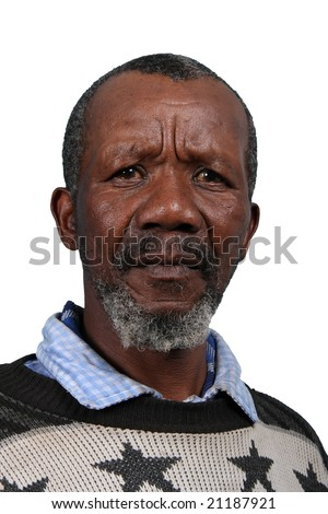 Senior African man with beard and sad expression isolated on white - stock photo