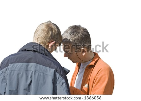 senior and junior - teamworking - stock photo