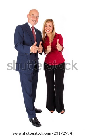 senior and young with thumbs up business concept isolated on white - stock photo