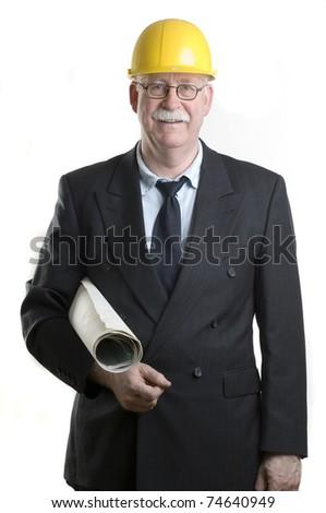 Senior architect holding blueprints - stock photo