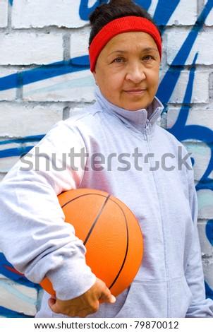 Senior basketball player - stock photo