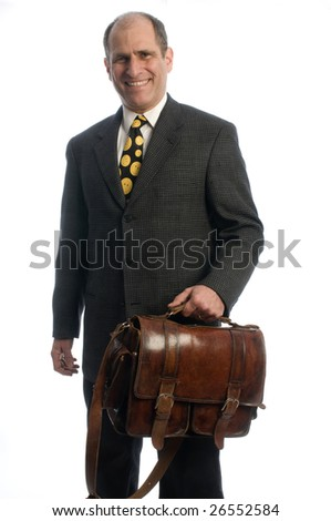 senior business executive happy confident with leather shoulder attache bag for travel - stock photo