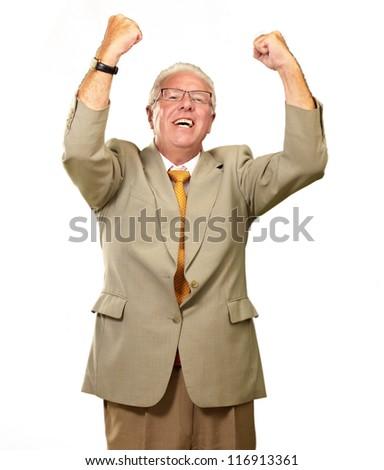 Senior Business Man Cheering Isolated On White Background - stock photo