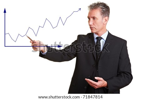 Senior business man explaining financial trend with a chart - stock photo