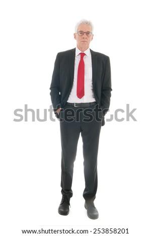 Senior business man full body standing isolated over white background - stock photo