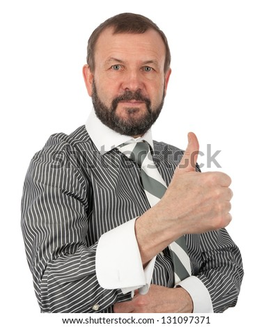 senior business man showing his thumb up against white background - stock photo