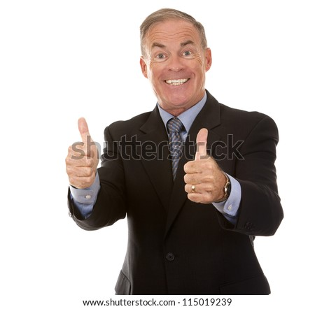 senior business man showing thumbs up gesture on white - stock photo