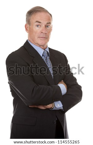 senior business man wearing suit on white background - stock photo
