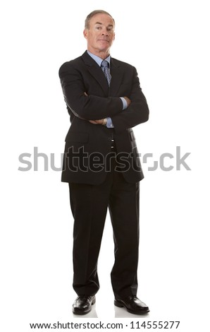 senior business man wearing suit on white background