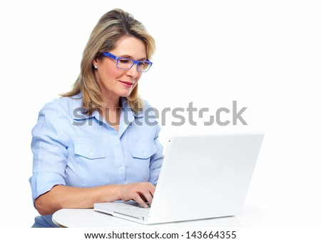 Senior business woman. Isolated over white background. - stock photo