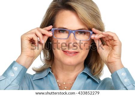 Senior business woman portrait with eyeglasses. - stock photo