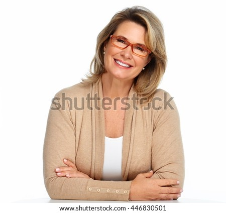 Senior business woman portrait with eyeglasses. - stock photo