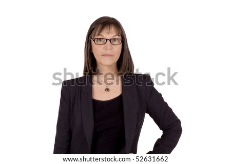Senior business woman with glasses is giving a strick look