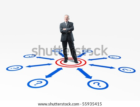 senior businessman and connection 3d scheme - stock photo