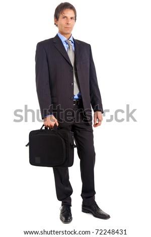 Senior businessman full length portrait isolated on white - stock photo