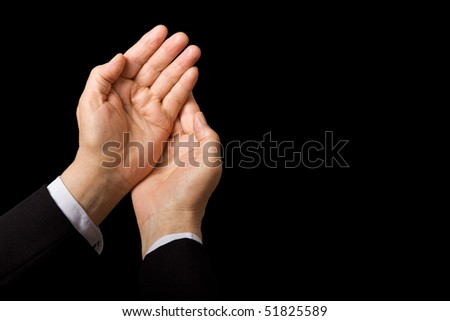 Senior businessman hands isolated on black - with copy space