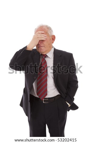 senior businessman hiding is face (isolated on white) - stock photo