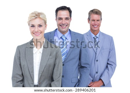 Senior businessman in a row with his business team - stock photo