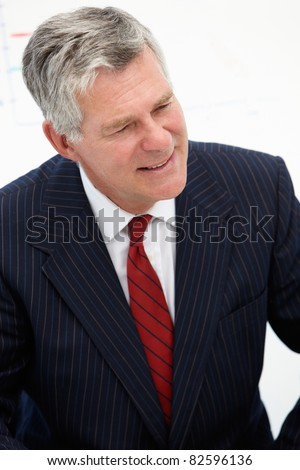Senior businessman in meeting - stock photo