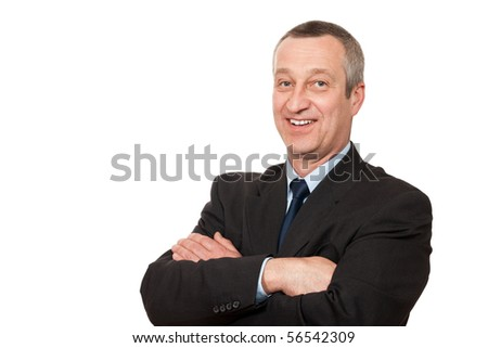 senior businessman isolated on white background - stock photo