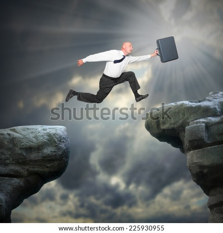 Senior businessman jumping to new job. New deal and career concept.  - stock photo