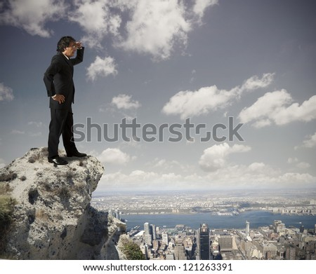 Senior businessman looking the future - stock photo