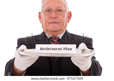 Senior businessman offering you the best solution for a insurance plan