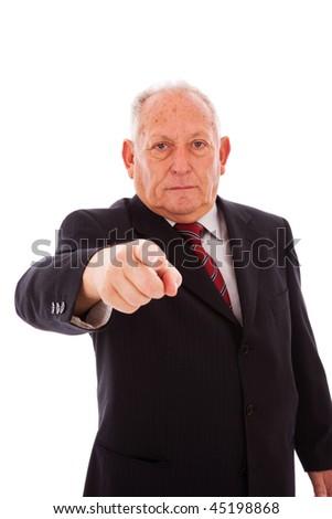 senior businessman pointing to you (isolated on white) - stock photo