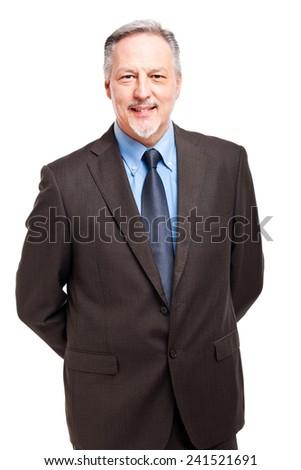 Senior businessman portrait isolated on white - stock photo