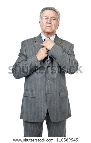 Senior businessman posing isolated in white