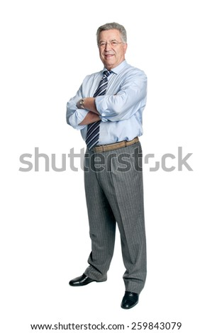 Senior businessman posing isolated in white - stock photo