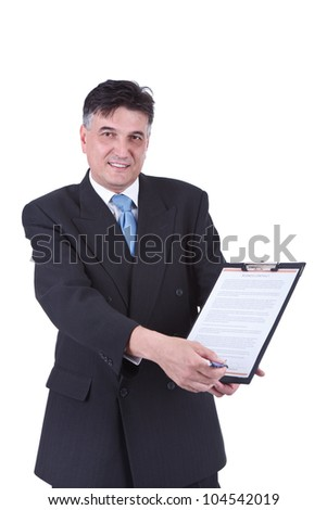 senior  businessman showing contract ready  for signing,  isolated on white background - stock photo