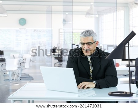 Senior businessman sitting in modern office, working with laptop computer. - stock photo